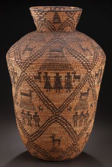 American Indian Art:Baskets, AN APACHE PICTORIAL COILED STORAGE JAR . c. 1900... #GeorgeTupak