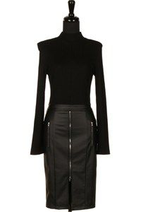 RIBBED KNIT TOP N FAUX LEATHER DRESS 16Q-D614