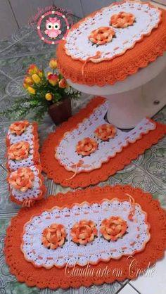 Jogo de banheiro | croche | com flores | branco e laranja
