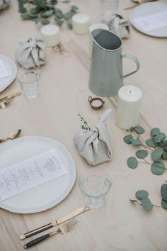 menu design by tara hurst kinfolk l'esprit de la mer dinner {local milk} Natural table setting.