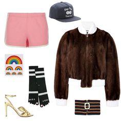 Juicy Couture side-stripe running shorts, $150, harrods.com; Huf cherry bombers snapback, $53, ben-g.com; Fendi mink bomber jacket, $6,000, stylebop.com; J.W.Anderson men's chenile stripe neck band, $250, j-w-anderson.com; Valentino Angelicouture metallic leather sandals, $1,095, mytheresa.com; Tattly rainbow temporary tattoo, $6, selfridges.com; Stance x Rihanna pedi cure toe socks, $24, tillys.com