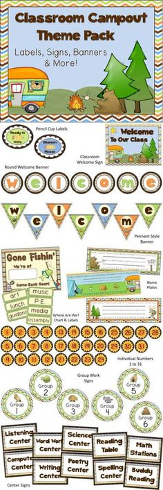 Big Classroom Decor pack - Camping theme!                              …
