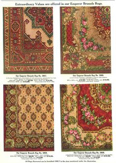 Examples of Emperor Brussels' Rugs from a Hilger Bros. Furnishing catalog (1910).