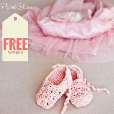 Stunning crochet Point Shoes for little ballerinas (free pattern)