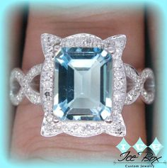 Aquamarine Engagement Ring 4ct Emerald Cut in a 14k White Gold Picture Frame Halo Setting
