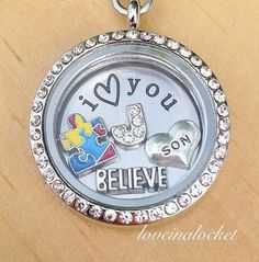 A personalized Autism Awareness locket necklace for moms of sons with Autism. The perfect gift idea for mom to proudly show her support for the cause and her son!