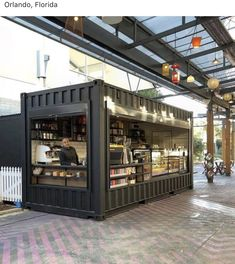 Container House Cafe Coffee Shop – Shipping Container US Container Home Designs, 40ft Container, Container Office, Cafe Shop Design, Kiosk Design, House Design, Container Architecture, Shipping Container Restaurant, Shipping Containers
