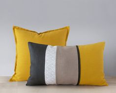 Mustard yellow linen pillow cover with a flange in by EllensAlley