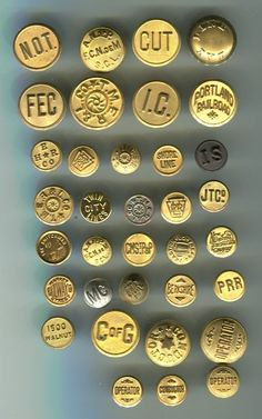 Large Lot of 35 Antique Brass Railroad Uniform Buttons * Many Scovill