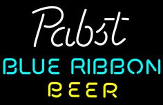 Pabst Blue- Ribbon Beer Text Neon Sign, Pabst  Neon Beer Signs & Lights | Neon Beer Signs & Lights. Makes a great gift. High impact, eye catching, real glass tube neon sign. In stock. Ships in 5 days or less. Brand New Indoor Neon Sign. Neon Tube thickness is 9MM. All Neon Signs have 1 year warranty and 0% breakage guarantee.