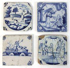Four Dutch blue and white tiles, 11.5cm x 10cm (4.5'' x 4'') #tiles #antique #ukauctioneers