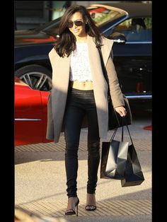 Naya Rivera. Leather High-Waisted Trousers. White Lace Crop Top. Cashmere Oversized Coat.