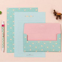 for girls Strawberry Cake Letter set - 4sh writing stationary paper 2sh envelope #Ardium