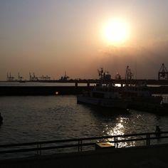 夕陽@大阪港