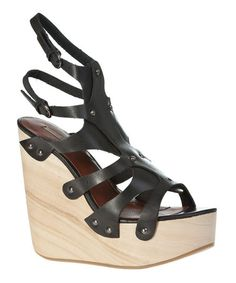 Loving this Black Foils Leather Platform Wedge on #zulily! #zulilyfinds