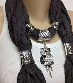 grey jewelry scarf - grey soft and unique jewelry scarve with very pretty… Scarf Necklace, Scarf Jewelry, Fabric Jewelry, Diy Necklace, Necklaces, Ways To Wear A Scarf, How To Wear Scarves, Diy Schmuck, Diy Jewelry Making
