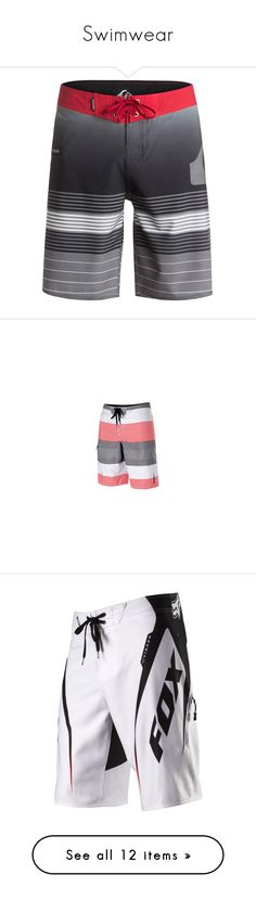 """Swimwear"" by itzyalocalwhiteboy on Polyvore featuring tops, stripe top, striped tops, men's fashion, men's clothing, men's swimwear, black, men's apparel, mens board shorts swimwear and mens swimwear"