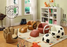 LITTLE CATCHERS MITT KIDS CHAIR sport theme / games chair armchair childrens playroom: Amazon.co.uk: Kitchen & Home