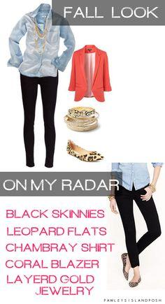 chambray + black Skinnies + leopard flats = fall look