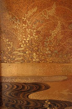Japanese Lacquer box with gold and silver inlay (detail)