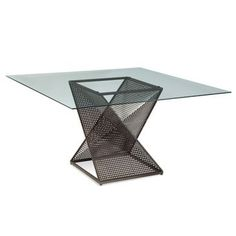 Check out the Bassett Mirror Bolton Square Glass Top Dining Table Glass Top Dining Table, Dining Table In Kitchen, A Table, Dining Chairs, Dining Area, Table Bases, Coffe Table, Contemporary Dining Table, Cool Tables