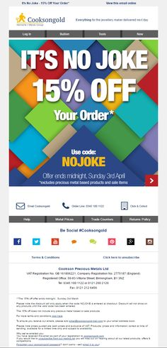 Cookson Gold April Fools' Day Email 2016 with Coupon Code #EmailMarketing #Email #Marketing #AprilFools #Coupon
