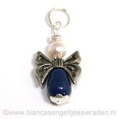 Hangertje Engeltje Vlinder Libelle Crystal Dark Lapis Pear White www.biancasengeltjessieraden.nl