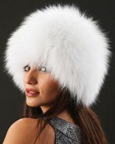 Eclipse Knit Fox Fur Hat in White