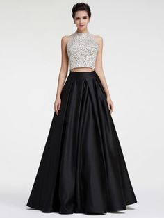Princess Halter Black Satin with Sequins Floor-length Two Piece Backless Nice Prom Dresses - pickedresses.com