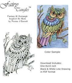 Hoot Owl Fairy Tangles Adult Coloring Book Page Owls Digi Sheet By Norma J