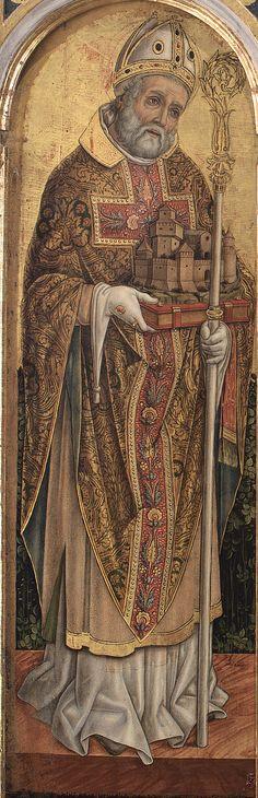 Vittore Crivelli - San Martino, dettaglio Trittico di Monte San Martino - 1490 - Chiesa di San Martino vescovo, Monte San Martino, in provincia di Macerata.