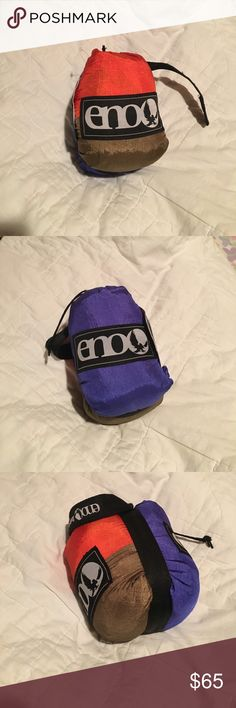 ENO DoubleNest Hammock Never opened, brand new, ENO DoubleNest, (cobalt blue, orange, copper brown), GREAT product, my favorite thing to take camping-- or to use at home!! [also comes with round sticker] Eagles Nest Outfitters Other