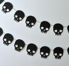 Halloween Garland/ Black Skull Garland. $12.00, via Etsy.