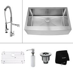 Kraus Kitchen Combo 20.75-in x 32.9-in Stainless Steel Single-Basin Apron Front/Farmhouse Kitchen Sink