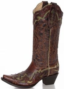 Corral Women's Brown Vegas Cowboy Boots with Green Overlay...$179.99