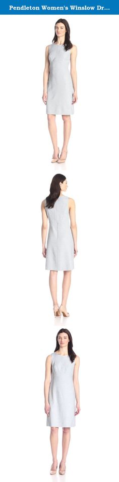 Pendleton Women's Winslow Dress, Blue Ash Novelty Weave, 8. A modern tweed and ladylike silhouette for a look that lasts. Sleeveless with an empire waist. Zip back. Made in USA of rayon pure virgin wool fabric woven in our American mills.