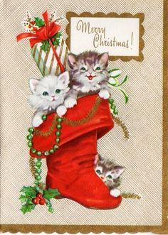 Vintage Christmas Kittens Card
