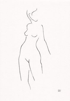 Woman figure drawing from back. Original black and white line art ...