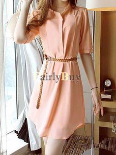 Loose Turn Down Collar Short Sleeve Mini Dress Casual Dress