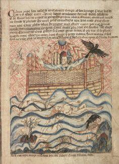 Ной выпускает ворона и голубя; Англия; XIV в.; памятник: Библия (Bible ('Holkham Bible Picture Book'). 1327-1335гг.