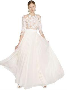 Lace & Plisse Georgette Maxi Dress