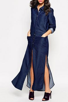 Big Pockets High Slit Denim Dress  #ZAFUL #FASHION #NEW #DRESS