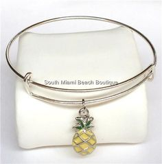 Silver Plated Hawaiian Pineapple Charm Bracelet Island Beach Tropical Adjustable #SouthMiamiBeachBoutique #SlideSlider
