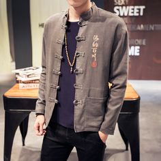 Chinese Style Men's Jackets 2017 New Spring Chinese Embroidery Linen Jacket Men Big Size M-5xl Stand Collar Casual Jacket Man #Affiliate