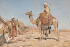 John Frederick Lewis, 1804–1876, British, A Bedouin Encampment; or, Bedouin Arabs, between 1841 and 1851, Watercolor, white gouache and graphite with scratching out on medium, slightly textured, beige wove paper, Yale Center for British Art, Paul Mellon Collection