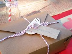 Box lunches for party and cute bamboo fork from Oriental Trading Company