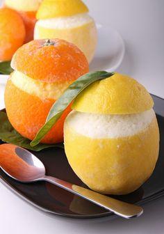 Oranges et citrons givrés... Lorsque mon papa mangeait au restaurant, il prenait toujours un citron givré en dessert
