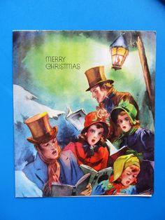 Vintage Christmas Card People Friends Caroling Girls in Dress Young Men Top Hats