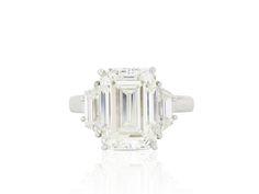 Plat 6.01ct Emerald Cut Diamond J/VVS2 Engagement Ring.