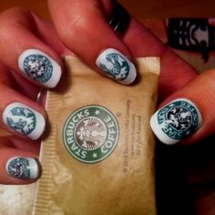Starbucks nails! I wonder if you could use the same technique you do for newspaper nails..